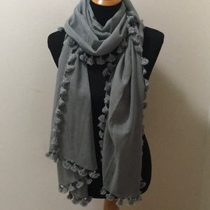 Gray tassle trimmed wrap scarf large size